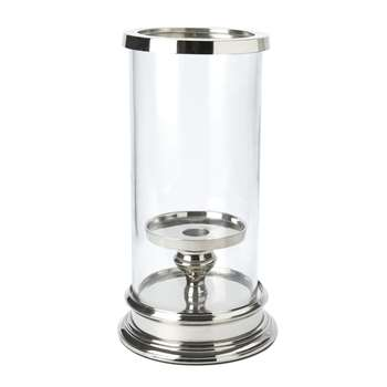 Glass and Silver Cylinder Hurricane Lamp (26 x 13cm)