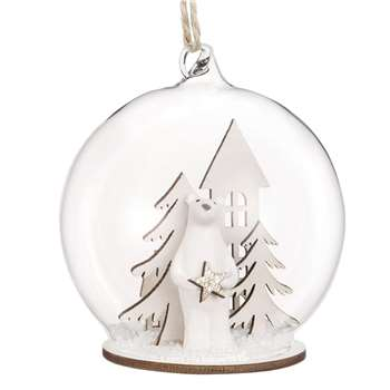 Glass Christmas Bauble with Christmas Tree Scene (H9.5 x W6.7 x D6.7cm)