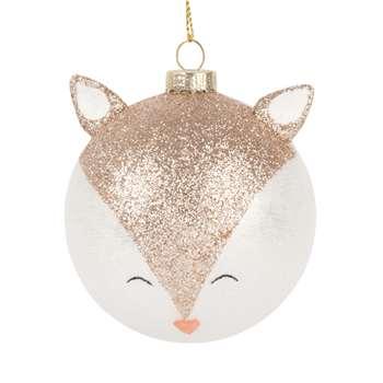 Glass Christmas Bauble with Glittery Fox (H8 x W8 x D8cm)