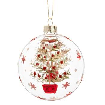 Glass Christmas Bauble with Green, Red and Gold Christmas Tree Print (H8 x W8 x D8cm)