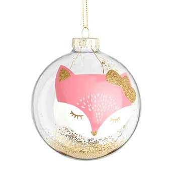 Glass Christmas Bauble with Pink Cat Print and Gold Confetti, Set of 6 (H8 x W8 x D8cm)