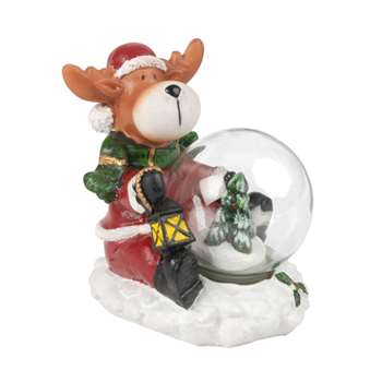 Glass Christmas Bauble with Reindeer (H8.2 x W8.5 x D6.5cm)