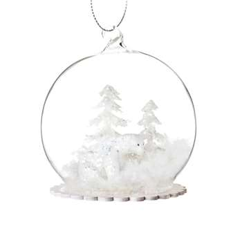 Glass Christmas Bauble with Snow-Covered Scene (H8 x W8 x D8cm)