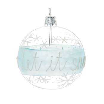 Glass Christmas Bauble with Snowflakes Print (H7 x W7 x D7cm)