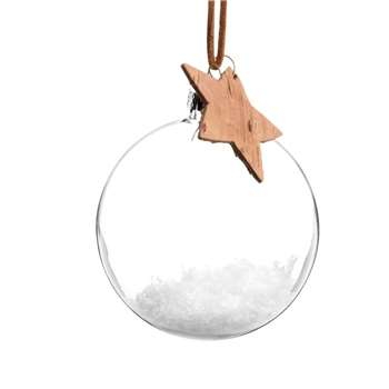 Glass Christmas Bauble with Star (H8 x W8 x D8cm)