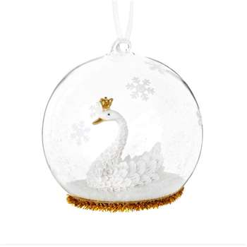 Glass Christmas Bauble with Swan and Snowflake Decoration, Set of 6 (H10.2 x W8.8 x D8.8cm)