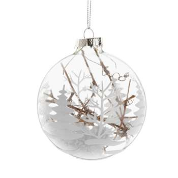 Glass Christmas Bauble with White Christmas Tree Print and Branches (H8 x W8 x D8cm)