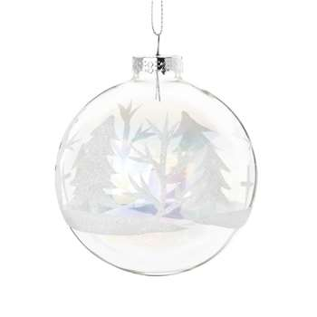 Glass Christmas Bauble with White Glitter (H13 x W8 x D8cm)
