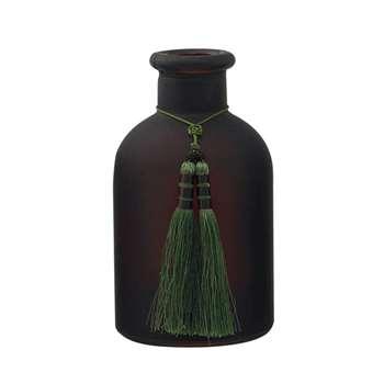 Glass Fragrance Diffuser Vase and Tassel- Dark Brown (16 x 9cm)