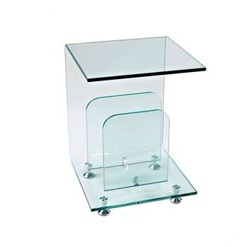 Glass magazine side table (55 x 40cm)