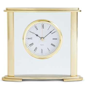 Glass & Metal Mantel Clock, Gold (H16 x W18 x D4.6cm)