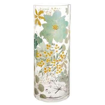 Glass Vase with Floral Motif (H30 x W12 x D12cm)