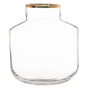 Glass Vase with Gold Edging (H20 x W18.5 x D18.5cm)