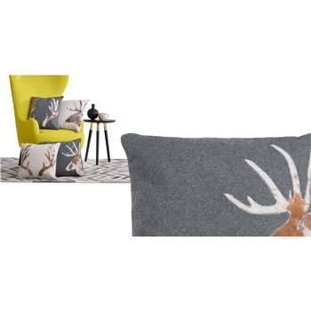 Glencoe Stag Cushion, Grey (45 x 45cm)