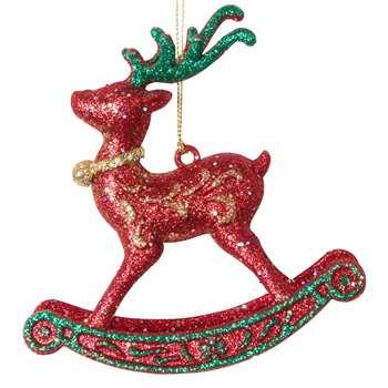Glitter Rocking Horse Christmas Hanging Decoration (H11 x W11.5 x D4.5cm)