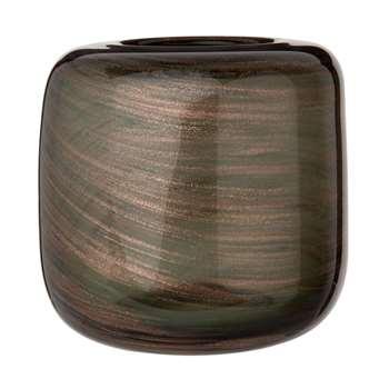 Glittery Grey Tinted Glass Vase (H16.3 x W16.3 x D16.3cm)