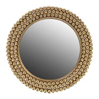 Global Explorer - Dotted Frame Round Mirror - Gold (Diameter 64.5cm)