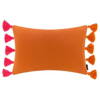 Global Explorer - Knitted Pom Pom Trim Cushion - Pink & Orange (H40 x W60cm)