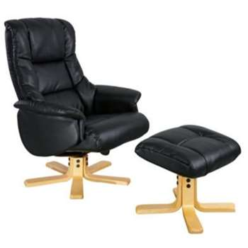Global Furniture Alliance  Shanghai Bonded Leather Swivel Recliner and Footstool in Black