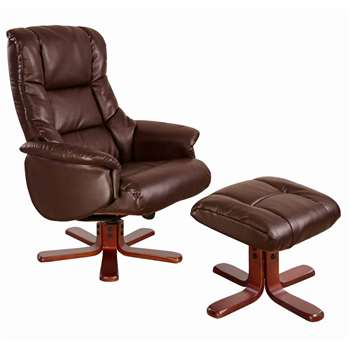 Global Furniture Alliance  Shanghai Bonded Leather Swivel Recliner & Footstool in Nut Brown
