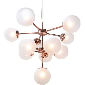 Globe Chandelier, Copper and Frosted Glass (H144 x W61 x D61cm)