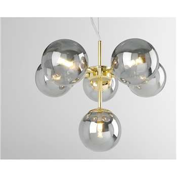 Globe Pendant Chandelier Small, Brass and Smoked Glass (Height 117cm)