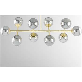 Globe Pendant Chandelier Wide, Brass and Smoked Glass (H88.5 x W94cm)