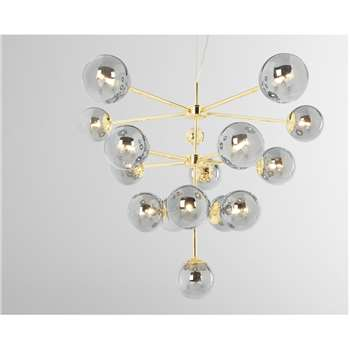 Globe Statement Pendant Chandelier Extra Large, Brass and Smoked Glass (H163 x W86 x D86cm)