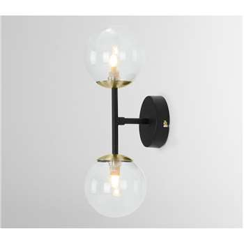 Globe Wall Light,  Black, Antique Brass and Smoked Glass (H37 x W15 x D15cm)