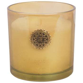 GLORIOUS Candle in Amber Tinted Glass Holder (H10 x W10 x D10cm)