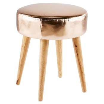 GLOSSY Copper Stool with Rubber Wood Legs (H45 x W37 x D37cm)