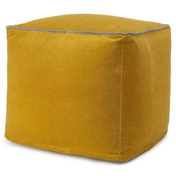 Godavari Velvet Pouf, Bright Mustard & Grey (H40 x W45 x D45cm)