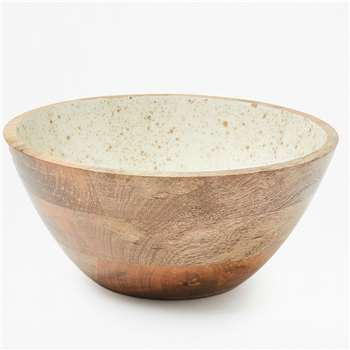 Gold Flecked Enamel Bowl Large - White Gold Fleck (12 x 26cm)