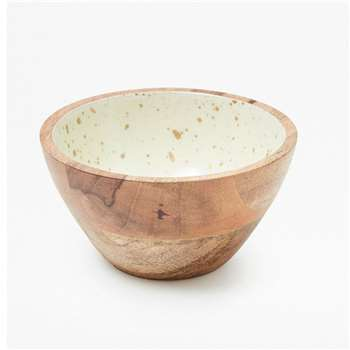 Gold Flecked Enamel Bowl Small - White Gold Fleck (8 x 15cm)