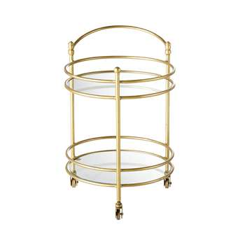 Gold Metal and Glass End Table on Wheels (H68 x W57 x D44cm)