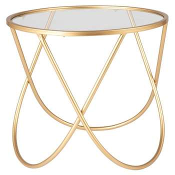 Gold Metal and Glass Side Table (H45 x W60 x D60cm)