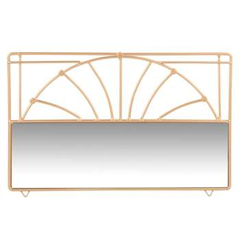 Gold Metal and Mirror Jewellery Stand (H18.5 x W30 x D1.5cm)