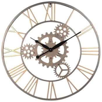 PLANO Gold Metal Cog Clock (Diameter 68cm)