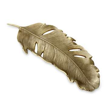 Gold Metal Feather Trinket Tray (3 x 43cm)