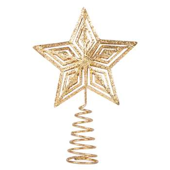 Gold Metal Star Christmas Tree Topper with Glitter (H14 x W10 x D3cm)