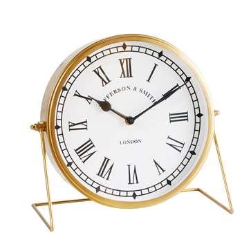Gold Metal Tabletop Clock (29 x 26cm)