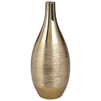 Gold Porcelain Bowl Vase (H34 x W14 x D14cm)