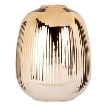 Gold Ribbed Ceramic Vase (H16 x W13 x D13cm)