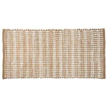Golden Cotton Rug with Graphic Motifs (H60 x W120cm)