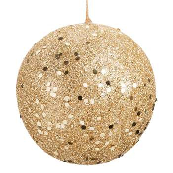 GOLDEN GLITTER - Gold Glitter Christmas Bauble (H6 x W6 x D6cm)