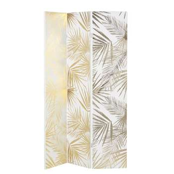 GOLDEN OASIS White and Gold Foliage Print Screen (H180 x W121.5 x D2.5cm)