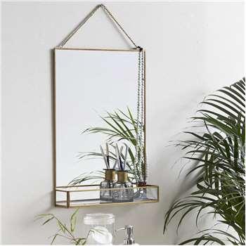 Golden Slim Rectangle Mirror With Glass Shelf (H50 x W35 x D8cm)