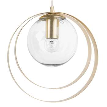 GOLDFINGER Glass Globe Pendant with Gold Metal Circles (H120 x W26 x D26cm)