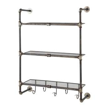 GORDON antiqued metal wall shelf unit W 68cm