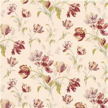 Gosford Meadow Cranberry Floral Wallpaper